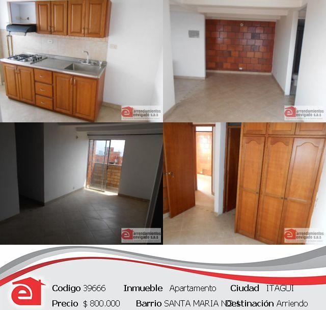 APARTAMENTO, ITAGÜÍ, CERCA AL CENTRO DE LA MODA. $800.000. Adecuado con: 3 habitaciones, 2 baños, 2 closets, cocina integral mixta, sala comedor y en unidad cerrada. Conócelo en http://www.arrendamientosenvigadosa.com.co