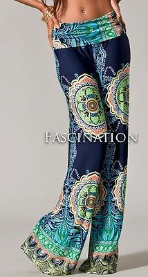 FOLDOVER NAVY BLUE HIPPIE 70s TRIBAL WIDE TALL JUP YOGA SUVA PANTS PALAZZO S M L