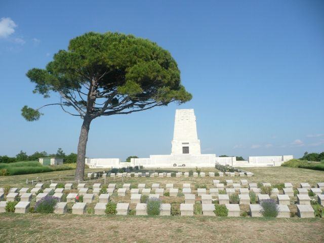 "Lone Pine cemetery. Gallipoli, Turkey, where Australian and New Zealand soldiers are buried. The youngest was 14 years. old.Grave markers have sayings on them such as, ""Their glory shall not be blotted out."" [Photo property of Hoyt L. Edge]"