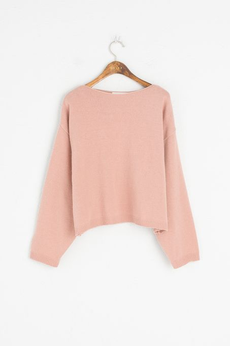 Lip Neck Spring Jumper, Pink, 80% Wool, 20% Acrylic
