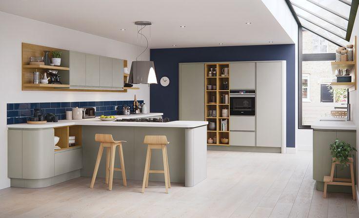 Modern Contemporary Strada Matte Handless Kitchen In Painted Stone