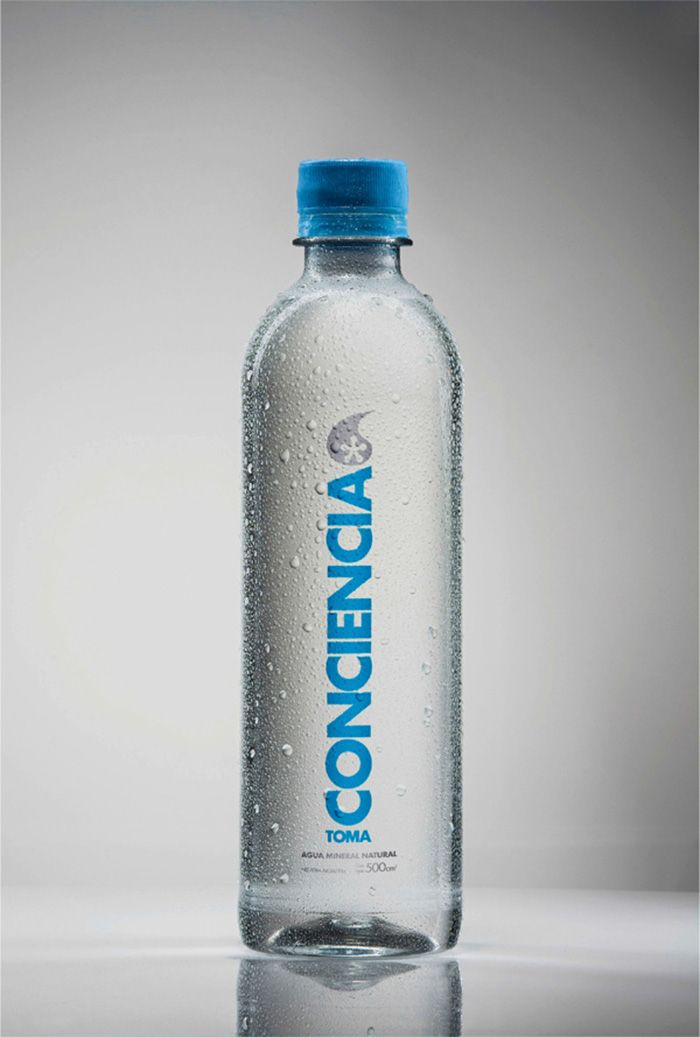 Conciencia (awareness), is a mineral water that donates 50% of the profits to charity.  Designed by: Flamel BBDO, Argentina