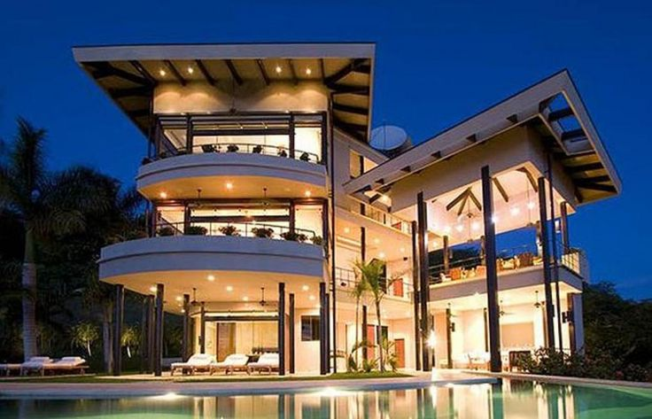 Delightful Exotic House Exterior Design With Three Floors Face The Rectangular Pond  Close To The Spacious Beach