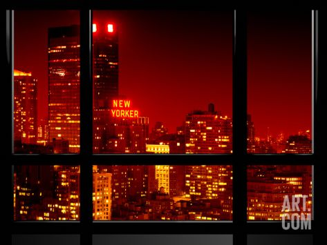 Window View, Special Series, the New Yorker at Red Night, Midtown Manhattan, New York, US, USA Photographic Print by Philippe Hugonnard at Art.com