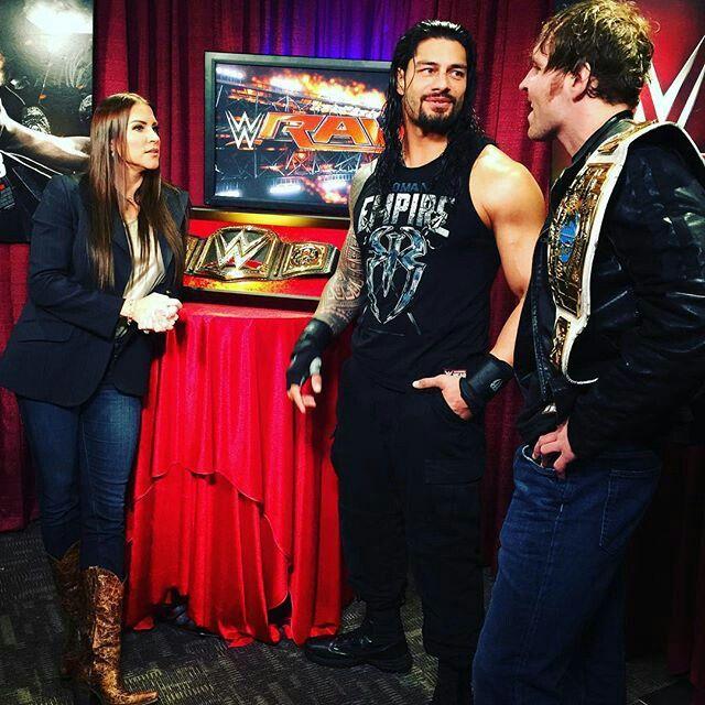 Stephanie McMahon, Roman Reigns and WWE Intercontinental Champion Dean Ambrose.