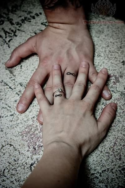 Infinity Symbols Tattoos On Fingers but under our rings on the other side! We are doing this :)