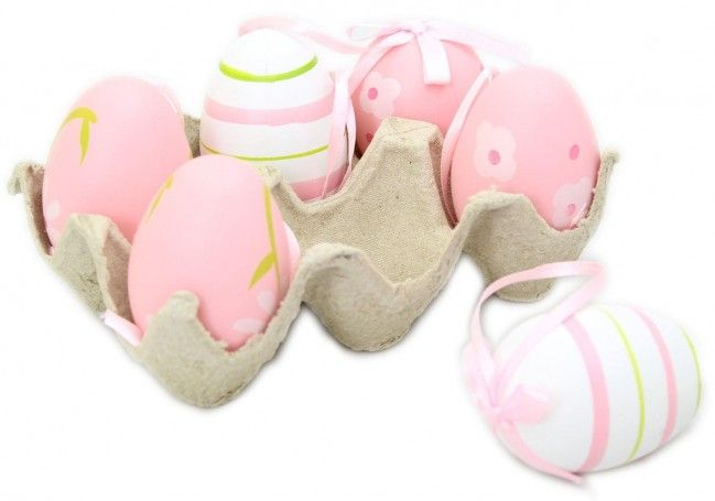 Crate Of 6 Half Dozen Hanging Easter Egg Decorations In An Egg Box ~ Pink