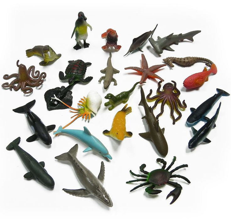 24pcs BOHS Marine Life Sea Animal Set  Whale Shark Octopus Penguin Children Gift Dolphin Turtle Crab Model Toys