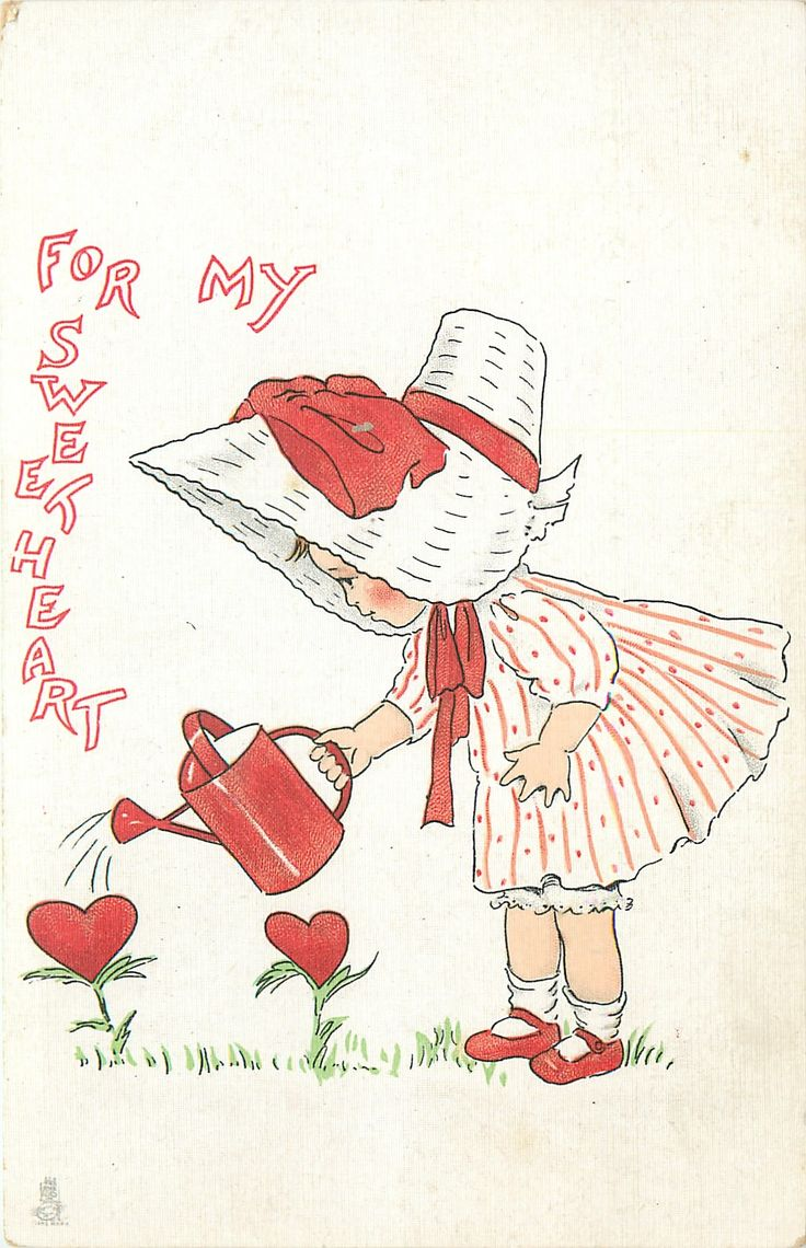 FOR MY SWEETHEART  girl in red & white clothes with sun-bonnet waters hearts