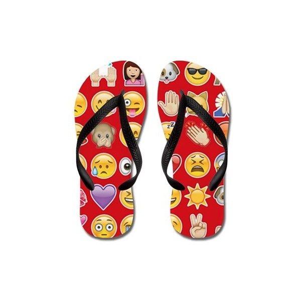 red emoji Flip Flops ($17) ❤ liked on Polyvore featuring shoes, sandals, flip flops, red emoji, strap sandals, toe thong sandals, red strap sandals, toe thongs and waterproof sandals