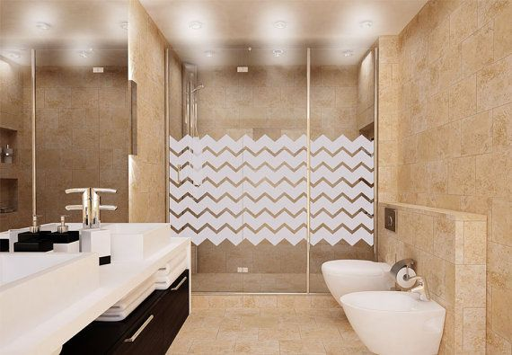 Light Gray Chevron Shower Door Decal Static Cling Glass