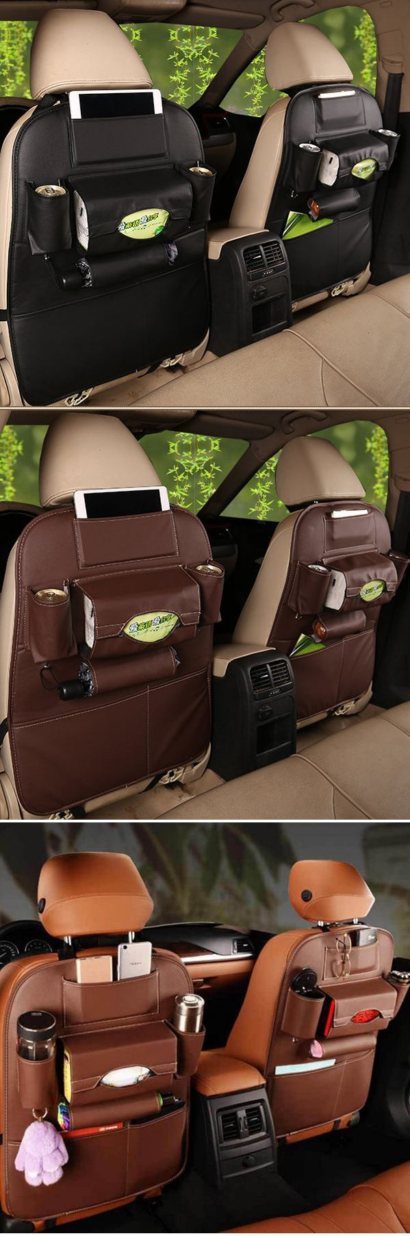 US$19.99 5 Styles Leather Car Storage Bag Multi-compartment Car Seat Storage Container Outdoors Hanging Bag