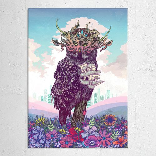 """Owl"" metal poster by Mat Miller #animal"