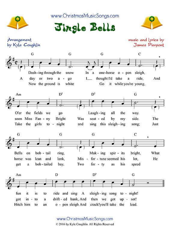 jingle bells sheet music with lyrics melody and chords christmas music and art in 2019. Black Bedroom Furniture Sets. Home Design Ideas