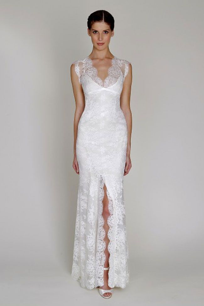 Simple Slim fit lace wedding dress with soft v neck