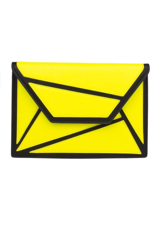 Graphic Clutch Handbag in Yellow | AKIRA