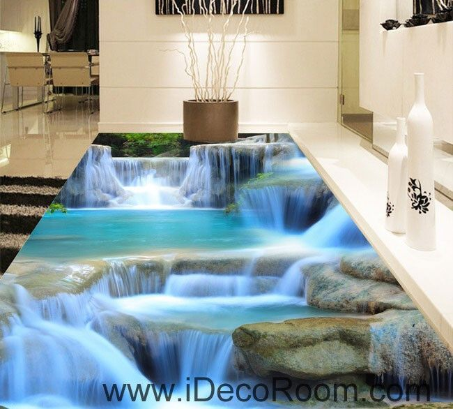 Best Living Room Color Ideas: Waterfall Pool Stage 00094 Floor Decals 3D Wallpaper Wall