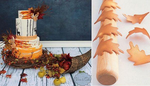 Осенний лес свадебный торт с оленями по Viva La торт слева, tuile листья с Марты Стюарт
