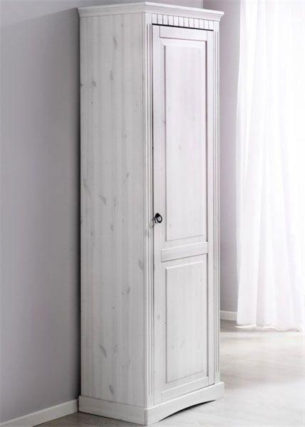 Материал: корпус: массив сосны, фасад: массив сосны. Цвет: корпус: белый воск, фасад: белый воск.  Описание: за распашной дверью одна полка и штанга для одежды.