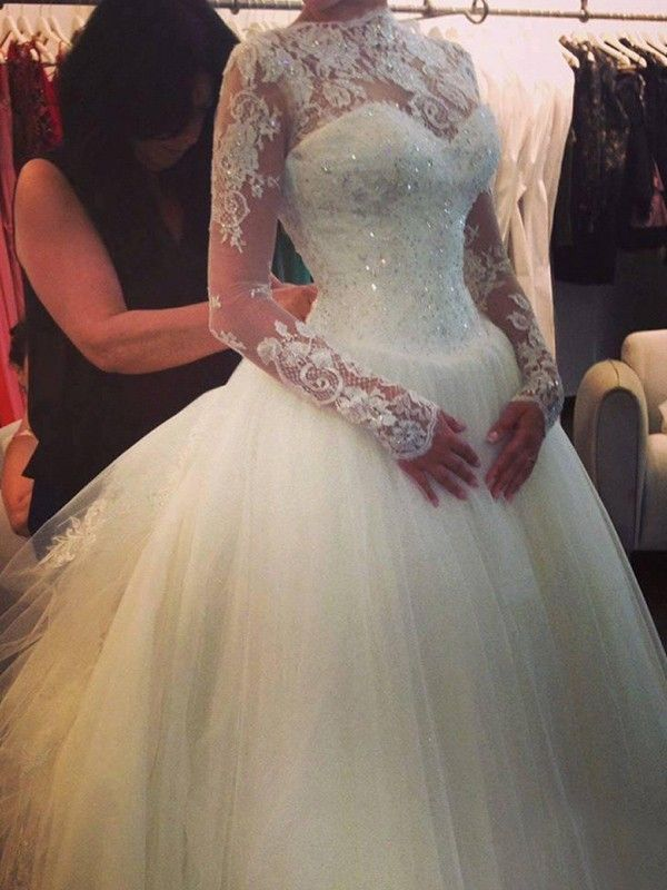 A-line/Princess High Neck Long Sleeves Beading Court Train Organza Wedding Dress