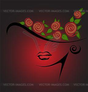 Женский силуэт в шляпе с красными розами - изображение векторного клипарта