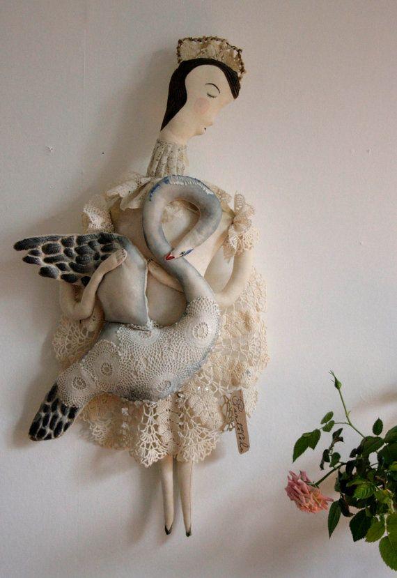 Anna Saint of Swans... OOAK soft sculpture textile by pantovola