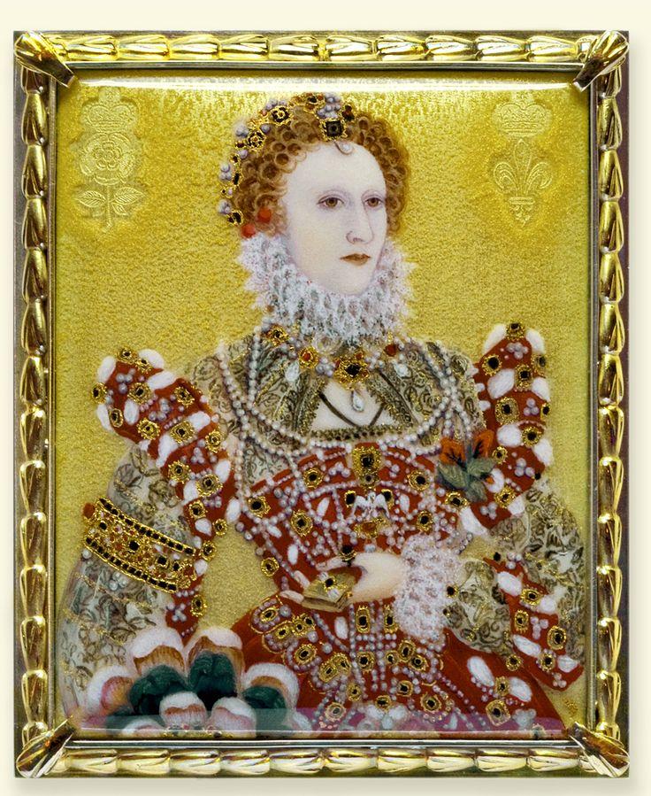 ELIZABETH I OF ENGLAND (1533–1603), last TUDOR monarch over England reigned 1558–1603 ~  Miniature of Queen Elizabeth I
