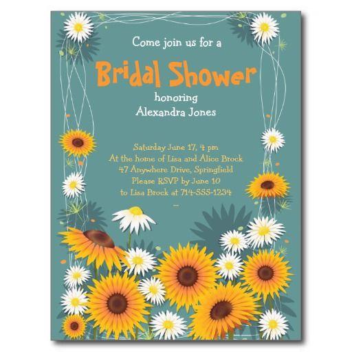 Daisy Sunflower Bridal Shower Party Invitation Postcard