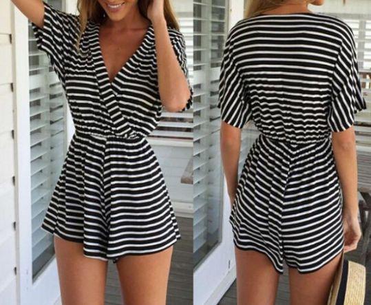 Women's sexy striped knit piece pants WE61812PO