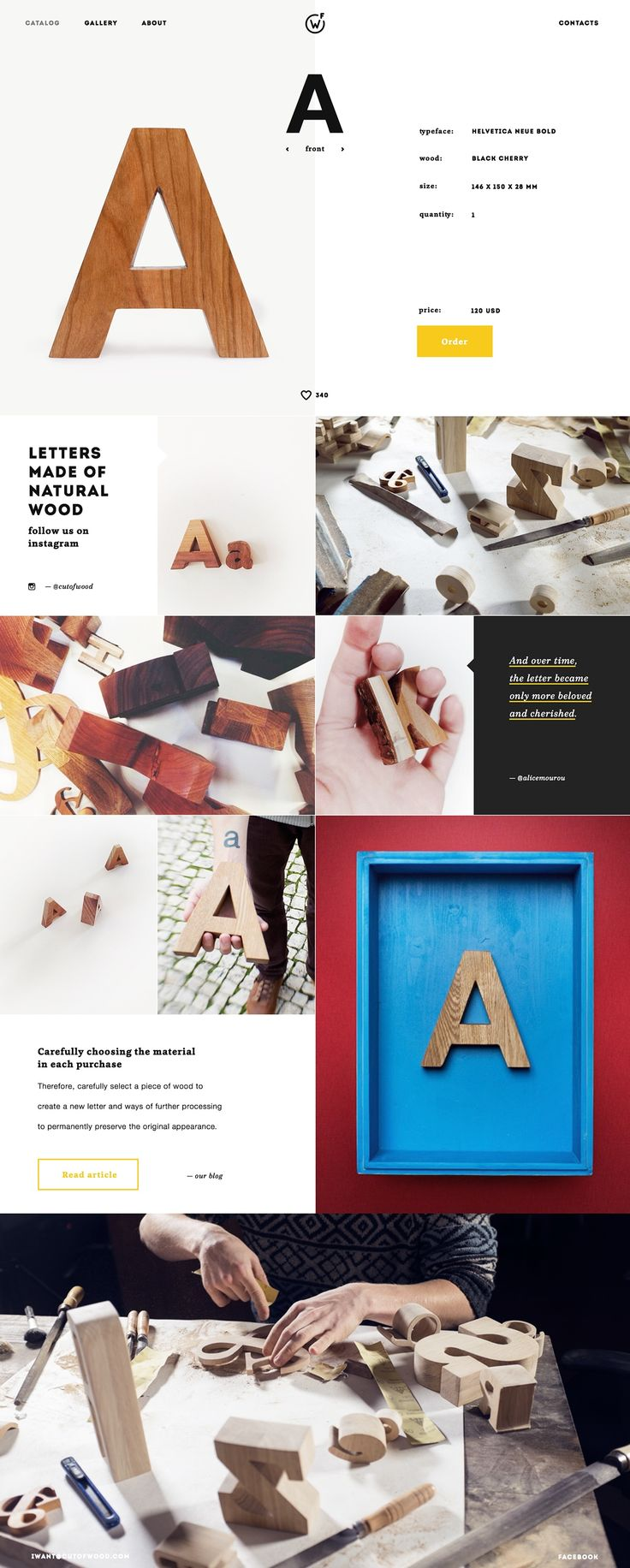 Cut of Wood: simple imagery focused website on Behance