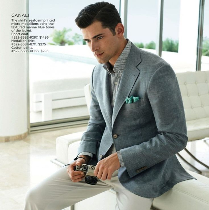 Sean O'Pry in Canali for Saks Fifth Avenue.
