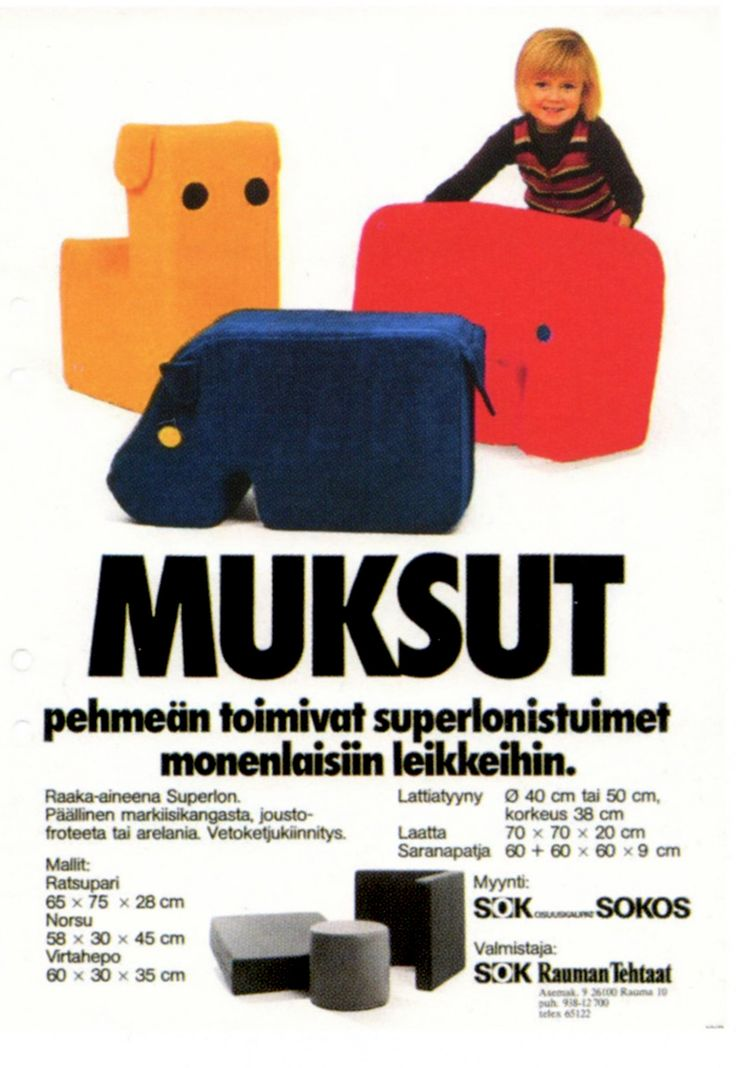 'Muksu' plastic foam furniture for kids by Ahti Taskinen. Muksu products were chosen as The Most Popular Furniture of 1978 by Avotakka magazine.