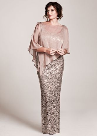Stylish, classy and modern! This elegant all over sequin lace mother of the bride dress with capelet accent is sure to shine at any special occasion! Sleeveless bodice features all over sparkling sequin lace fabric. Removable chiffon capelet adds just the right amount of coverage. Fully lined. Back zip. Imported. Dry clean. Available in Missy sizes as Style 3112DB.