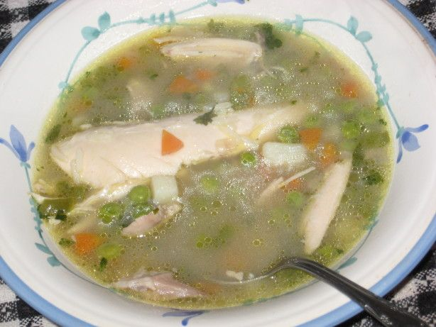 Chicken soup to get you healthy again! I just used one head of garlic. Same recipe Joyce used that was so good. SR.