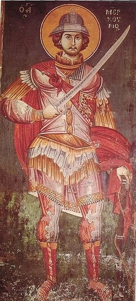 "Great-martyr Mercurius (224–250) was a Christian saint and martyr. Born Philopater in the city of Eskentos in Cappadocia, Eastern Asia Minor, his original name means ""lover of the Father"". Saint Mercurius is also known by the name Abu-Seifein, which in Arabic means, ""the holder [literally, owns/possess] of two swords"", referring to a second sword given to him by Archangel Michael."