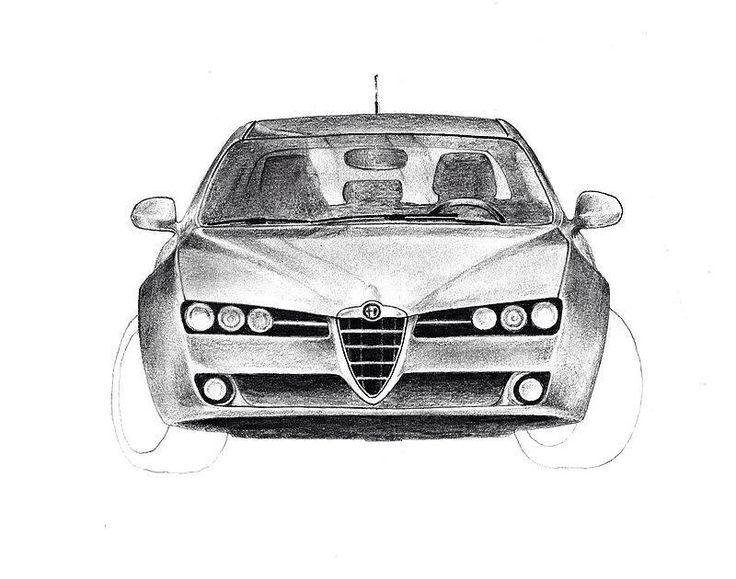 Pencil drawing not yet finished Alfa-Romeo