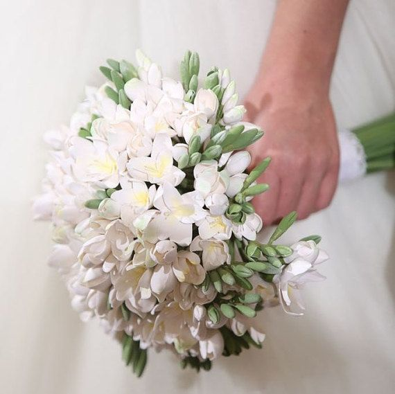 Freesia wedding bouquet by MadeOfClayUSA on Etsy