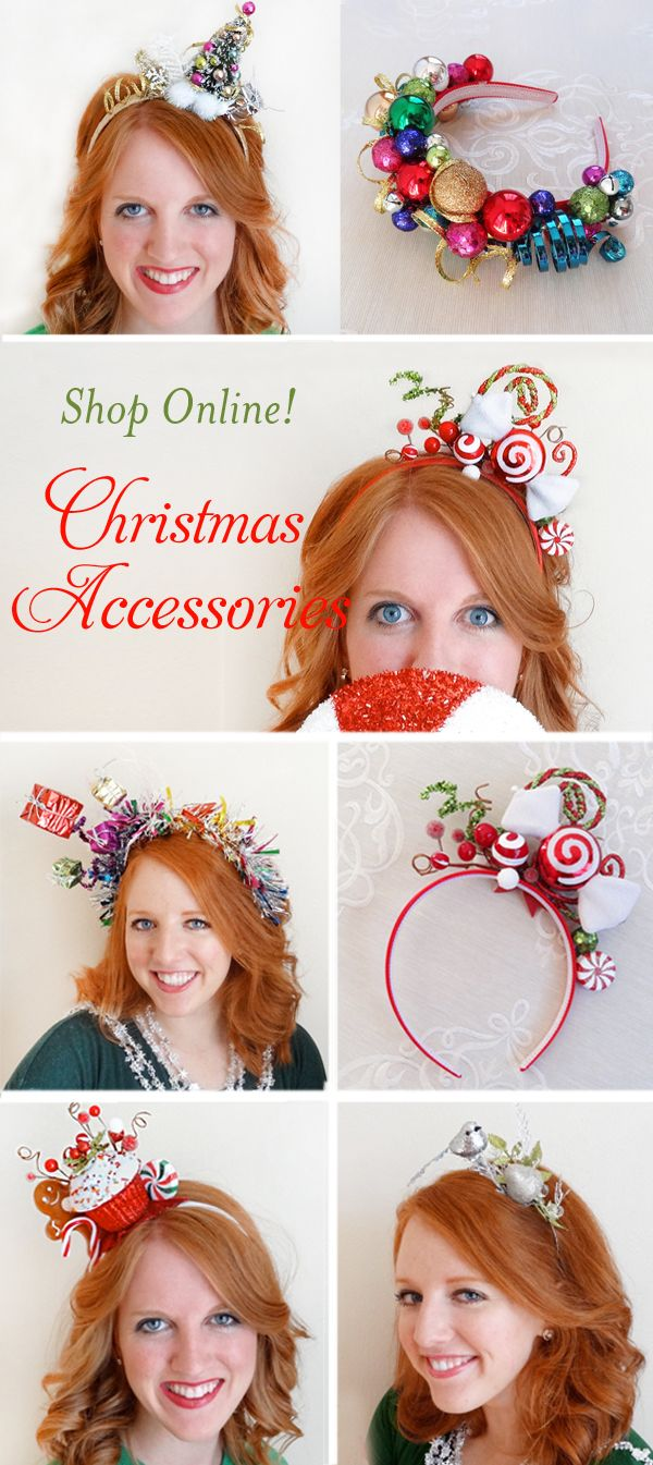 Christmas hair accessories for women, Christmas headbands for women, Ugly Sweater Party hair pieces, holiday headbands for adults. SHOP ONLINE: www.tinseledtiara.etsy.com