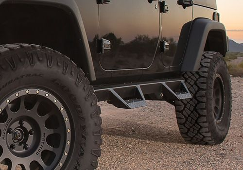 Jeep Accessory - ICI Jeep Wrangler Black Powder Coat Magnum RT Side Steps