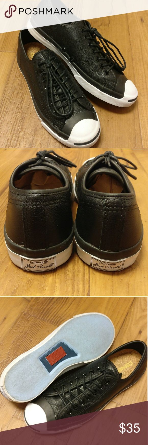 Black Leather Converse Jack Purcell Black Leather Converse Jack Purcell.  Unisex Style / Men's size 8 / Women's Size 10  New Without Tags.  There is a slight blemish around the bottom of the leather, as shown in the last 2 pictures. Converse Shoes Sneakers