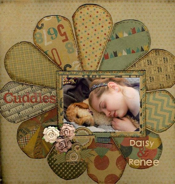 """Soft Faded """"Flower"""" Circle Page... layout"""