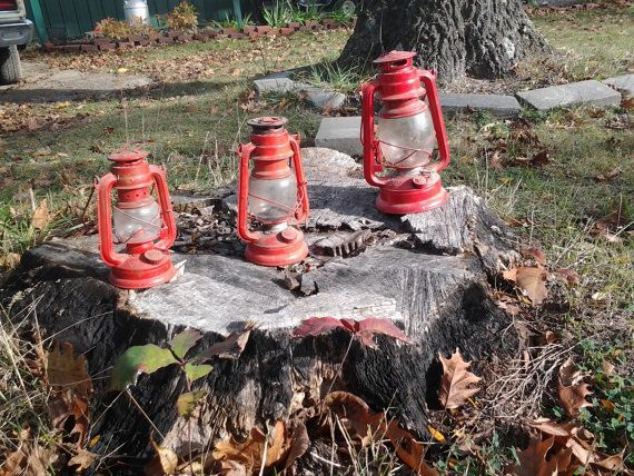 3 Vintage Red Lanterns set decoration / 1950's oil lamps by tunero