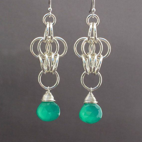 Green Onyx Sterling Silver Chainmaille Earrings