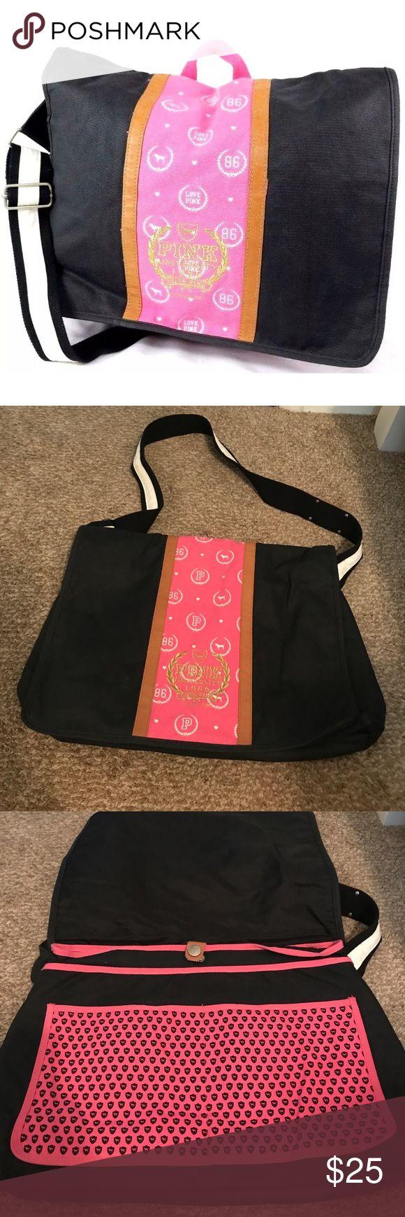 Victoria's Secret Pink messenger backpack laptop Never used, large messenger bag by VS PINK- PINK Victoria's Secret Bags