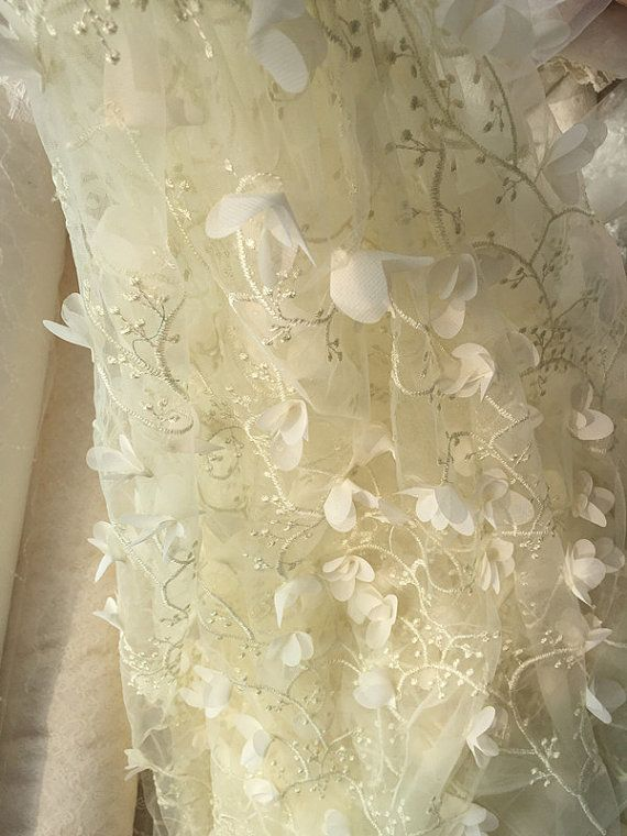 Ivory lace fabric with 3D rosette lace appliques by Retrolace