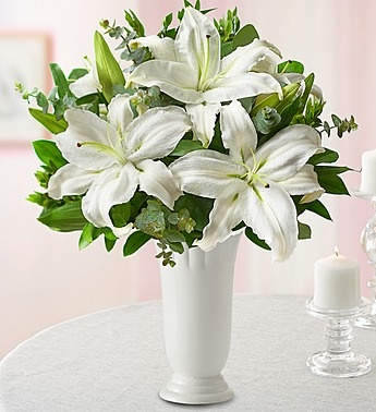 Send mom a simple yet elegant arrangement with our all White Lily Bouquet! #whiteflowers
