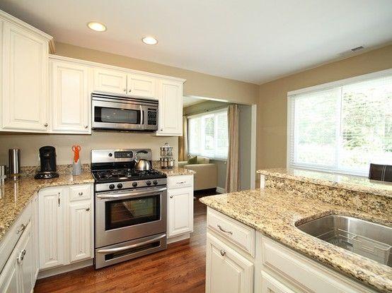Beautiful Kitchen Love The White Cabinets Dark Hardwood Floors Pretty Granite By Joni Small Design In 2018 Pinterest