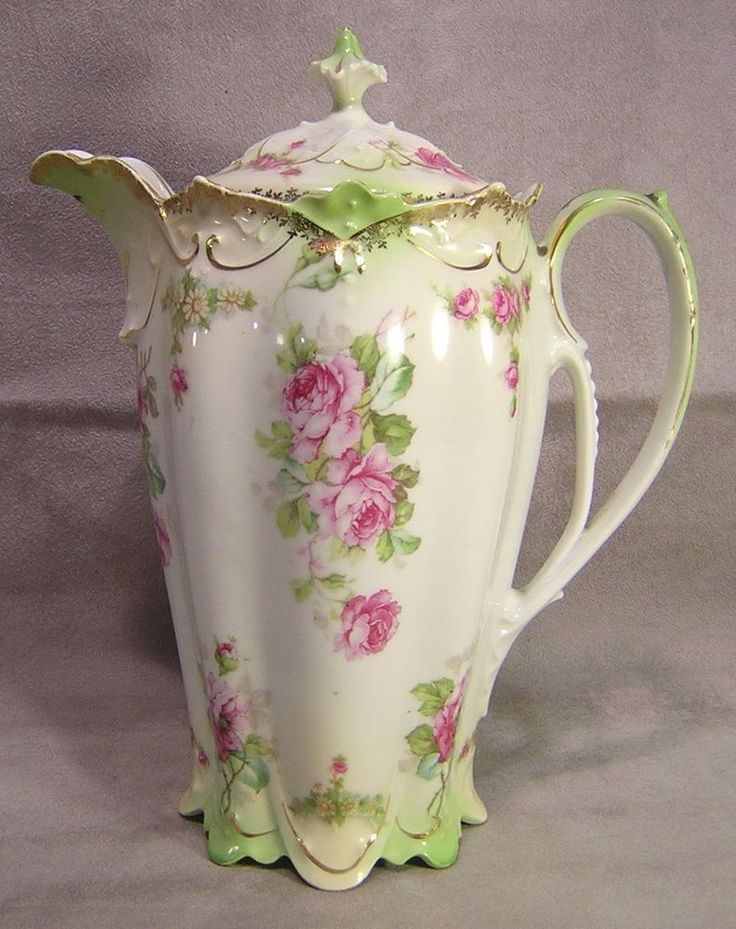 M.Z. Austria China Floral Coffee Pot Kaiserin Maria