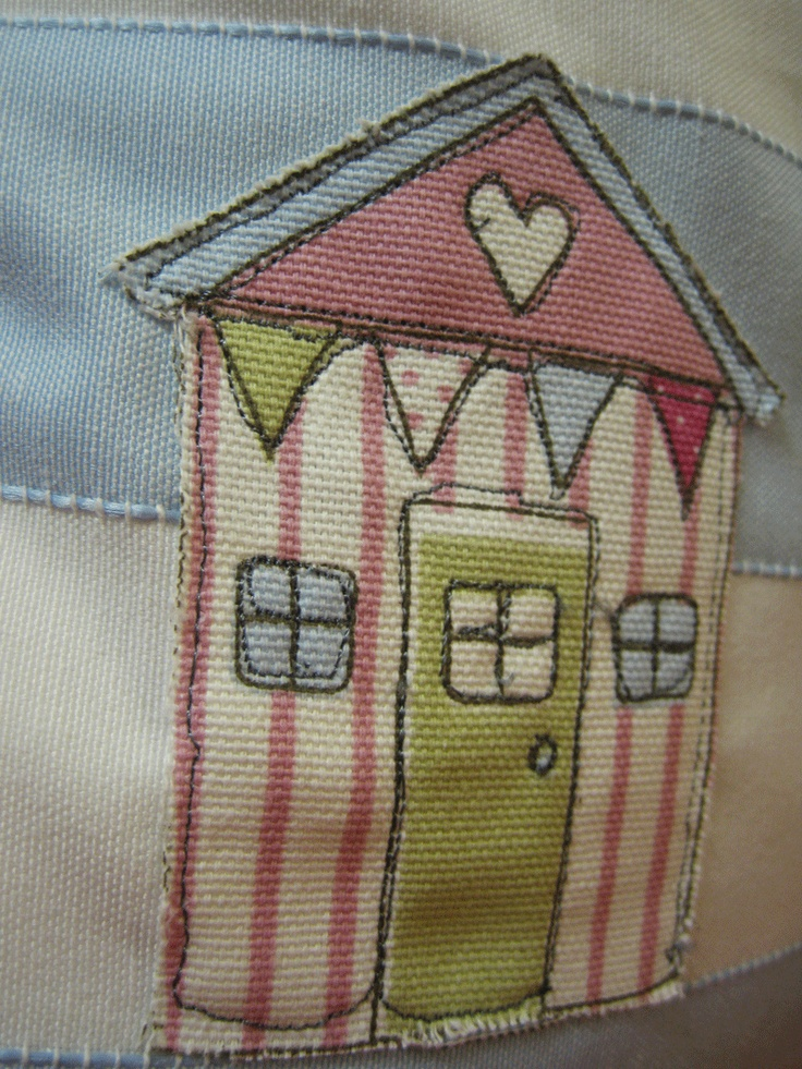 Beach Hut applique & Free Machining detail