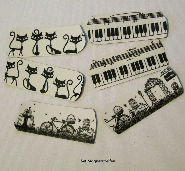 Set Magnetstreifen Katzen, Musik ect - Magnete von ღKreawusel-Designღ auf DaWanda.com